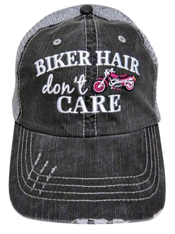 Biker hair don't care hat - motorcycle hair don't care hat