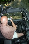 A look inside the Jeep Wrangler Unlimited while Jim shoots video with the camcorder.