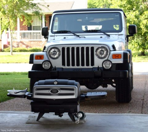 Our Jeep Wrangler Unlimited and Freedom Grill FG50 inside our garage.