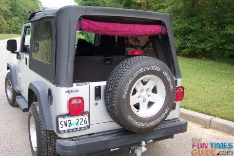 example of how we rolled up the back window using towel