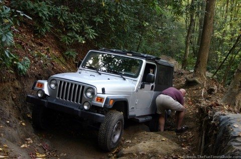 our jeep sandwiched between big rocks at tellico