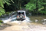 Our new Jeep Wrangler Unlimited traversing through a water crossing near Gatlinburg, Tennessee.