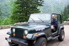 Jim enjoying the weekend in a rental Jeep from Lee's Jeep Rentals.